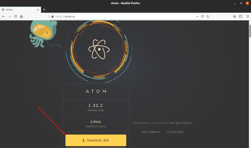 Descarga web archivo .deb editor Atom