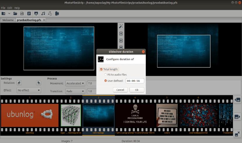 duración del proyecto con Photofilmstrip