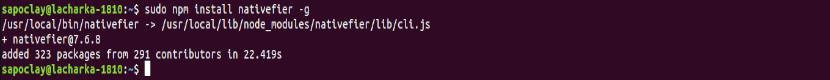 instalaciń de nativefier npm ubuntu 18.10