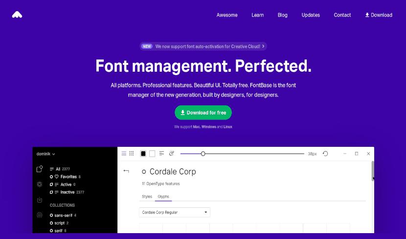 Página de descarga de fontbase