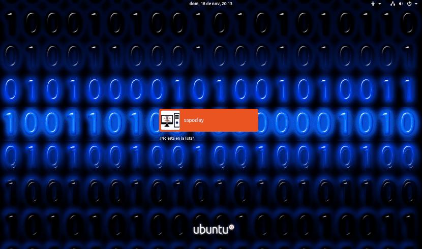 pantalla de inicio de sesión cambiada en Ubuntu 18.10