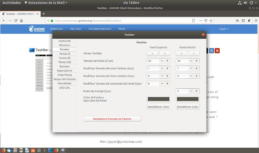 pestaña paneles de taskbar Gnome Shell