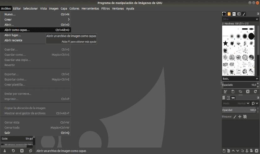 abrir como capas en GIMP