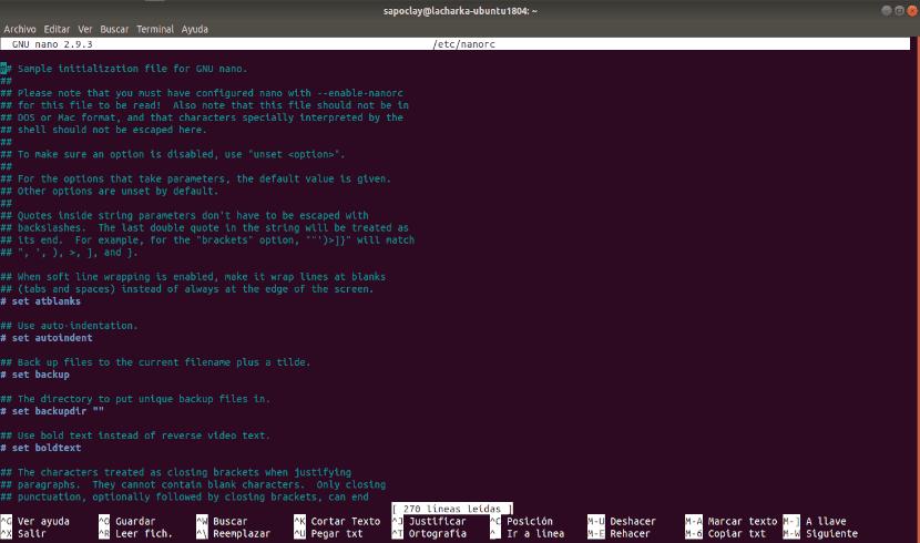 archivo de configuración nano /etc/nanorc