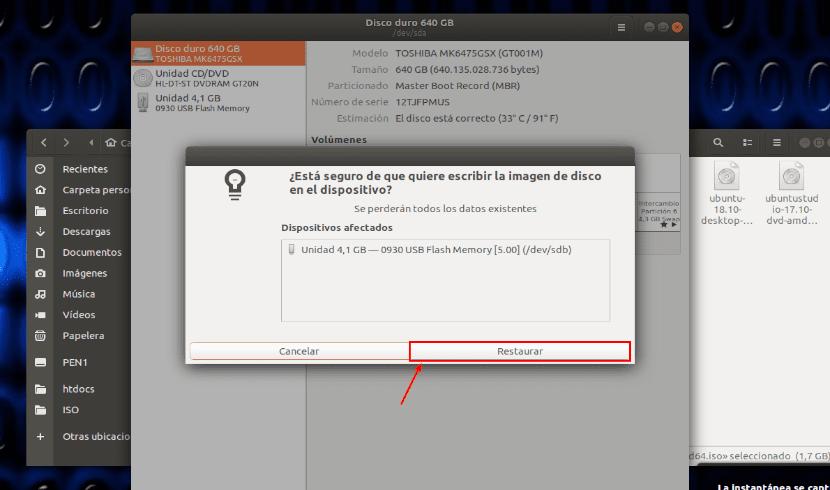 aviso de formateo de un USB arrancable