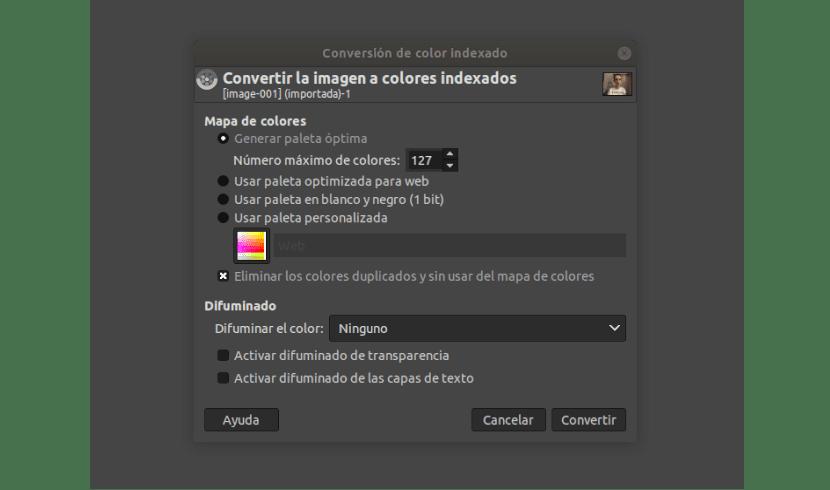 modo de colores indexados en GIMP