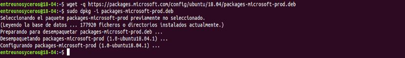 descargar microsoft .net e instalar en Ubuntu