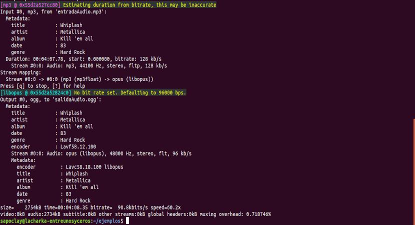 ffmpeg con codec seleccionado audio