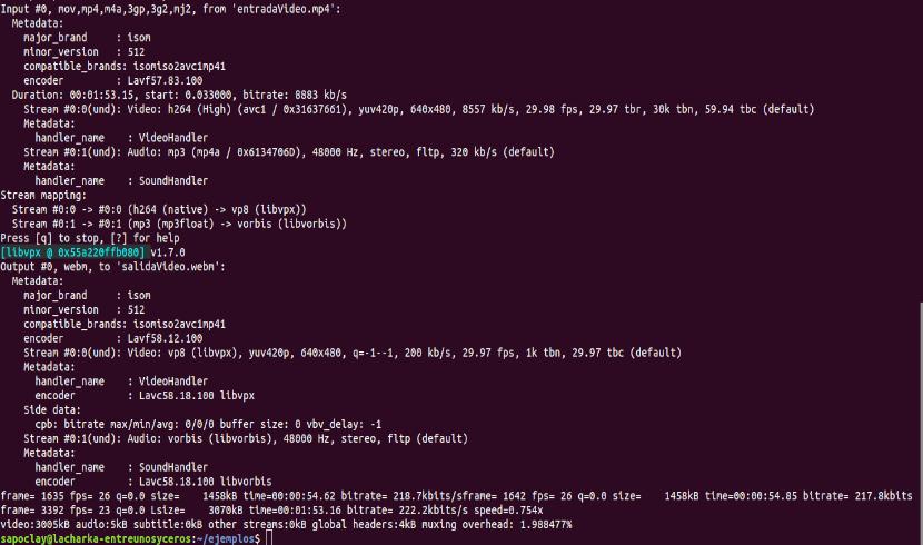 ffmpeg con codec seleccionado vídeo