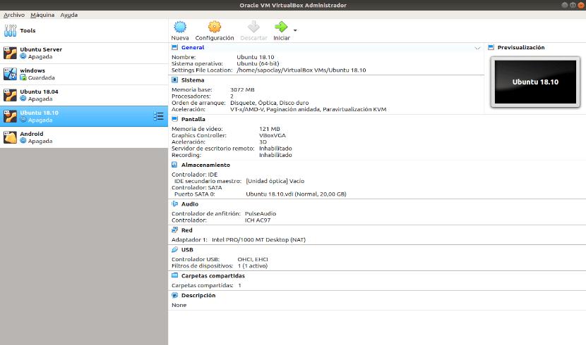 inicio de virtualbox 6 en Ubuntu 18.04