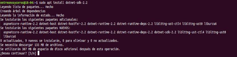 instalar dotnet sdk 2.2
