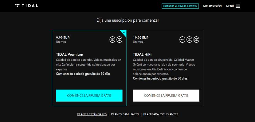 Planes disponibles de suscripción para Tidal