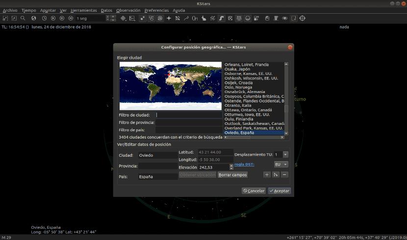 modificar la posición geográfica de KStars