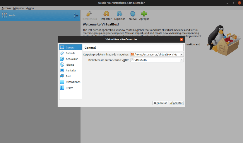 preferencias virtualbox 6