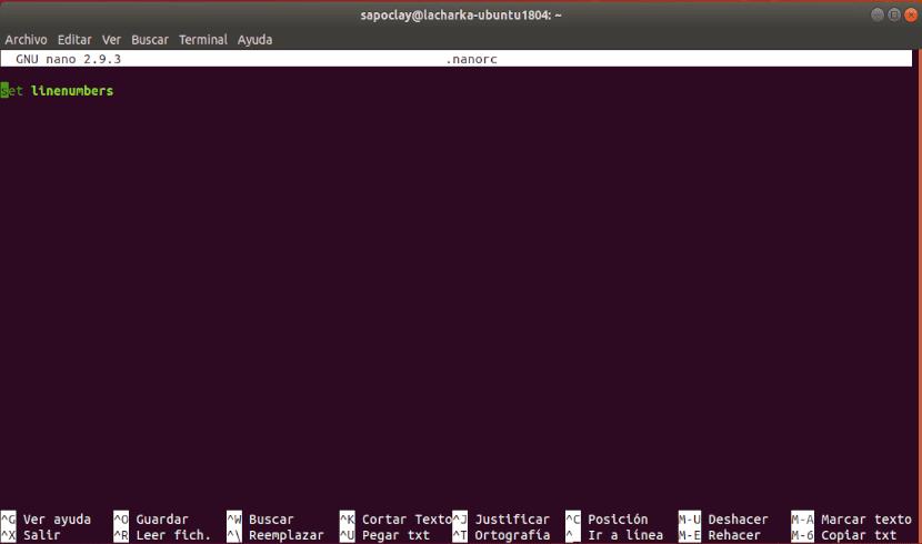 set linenumbers en archivo home nanorc