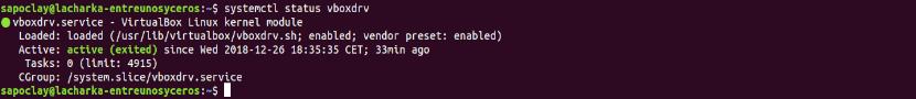 status vboxdrv Ubuntu