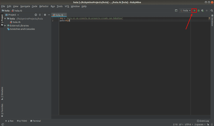 botón ejecutar programa en RubyMine