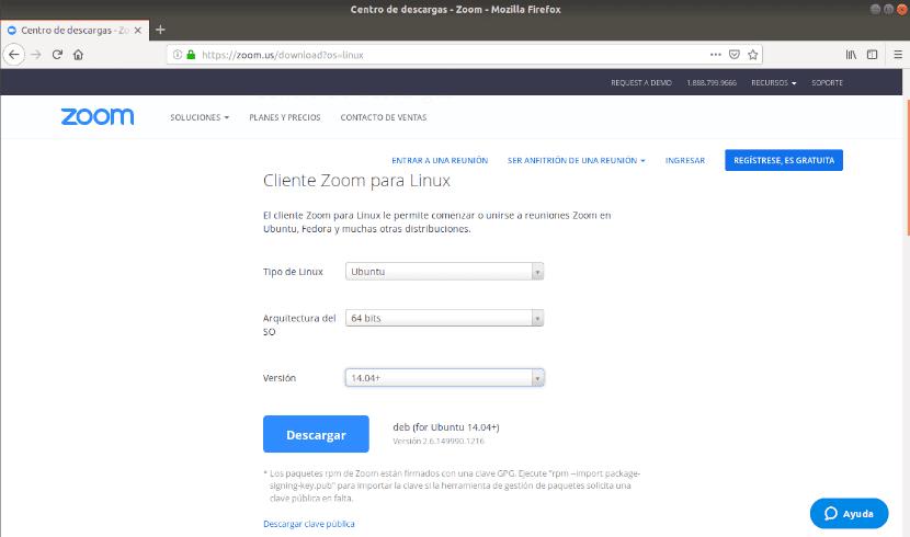 configuración del tipo de Ubuntu en la página de descarga