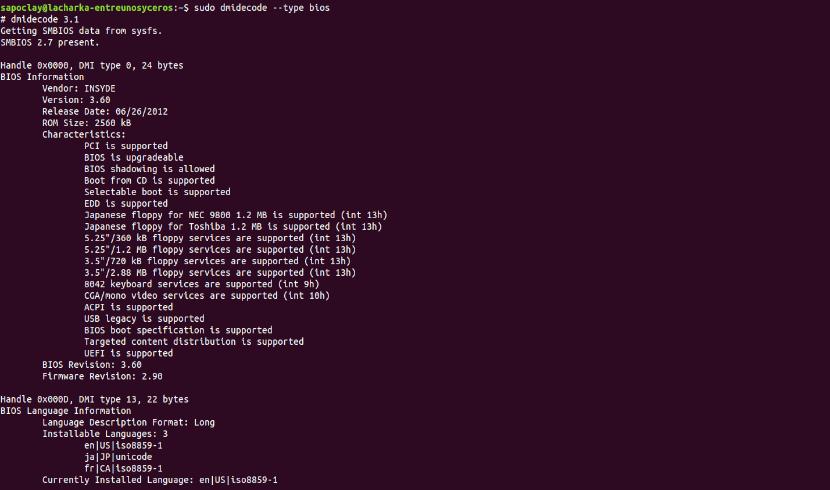dmidecode --type bios