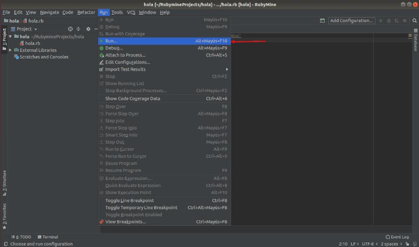 Ejecutar un programa con el menú run en RubyMine