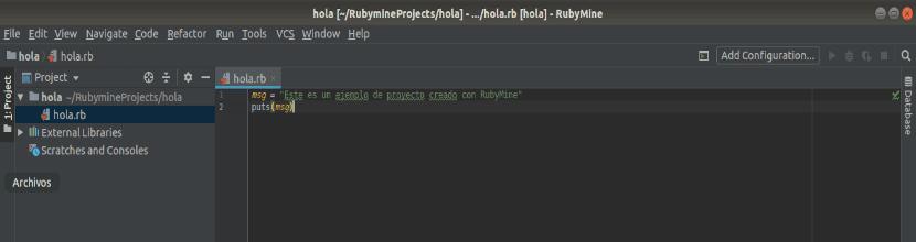 ejemplo de hola mundo con RubyMine