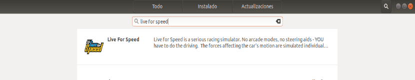 instalar live for speed desde la opción de software de Ubuntu