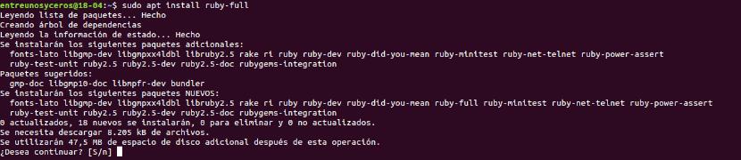 instalar lenguaje Ruby-full