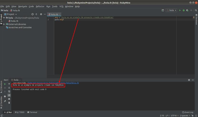 Programa ejecutado en RubyMine