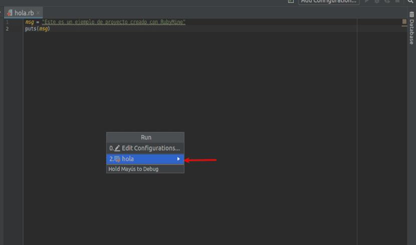 Seleccionar el proyecto a ejecutar en RubyMine