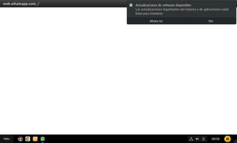 Mensaje de actualizaciones disponibles en Endless OS