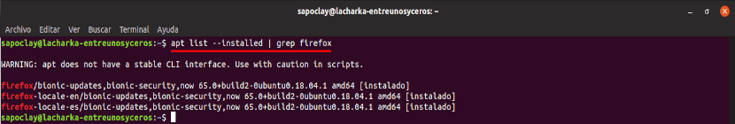 apt list installed grep firefox