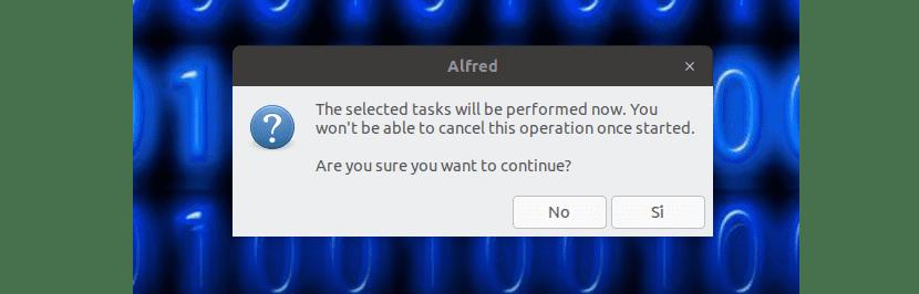 aviso de que empieza la instalación con Alfred