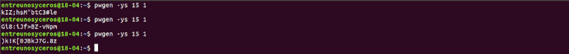 ejecución de pwgen