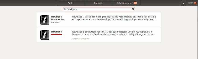 flowblade instalación desde la opción de software de ubuntu