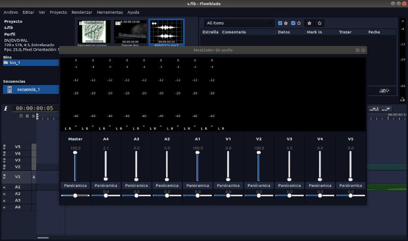 mesa de audio de flowblade 2.0