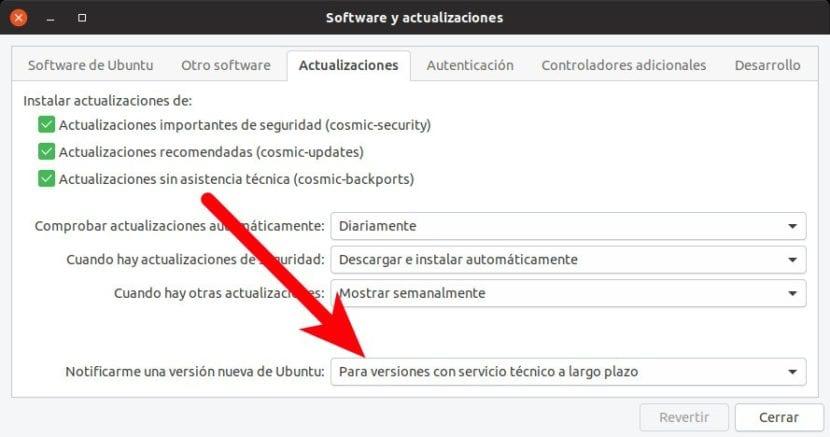Software y Actualizaciones: buscar versiones LTS