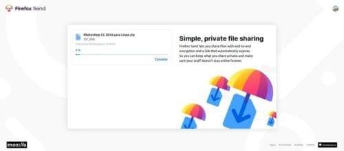 Subiendi archivo a Firefox Send