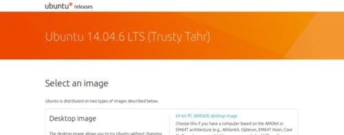Página de descarga de Ubuntu 14.04.6