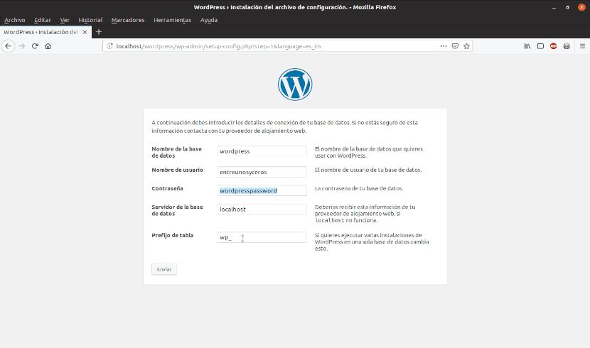 datos para la base de datos de Wordpress
