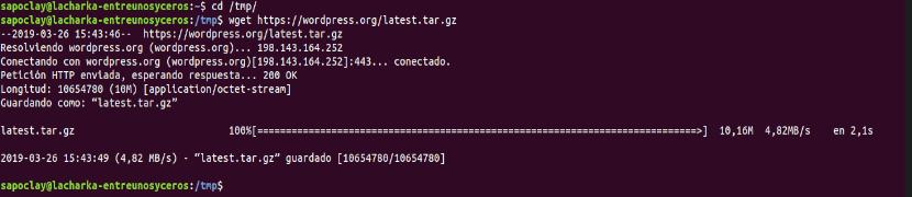 Descargar wordpress 5.1 con wget
