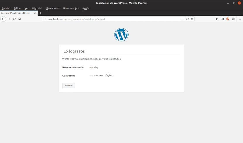 instalación de Wordpress 5.1 finalizada