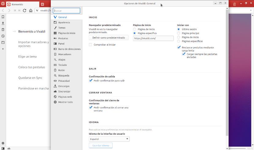 opciones generales de Vivaldi 2.3