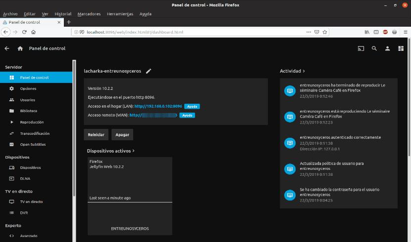 opciones de configuración del servidor de medios instalado