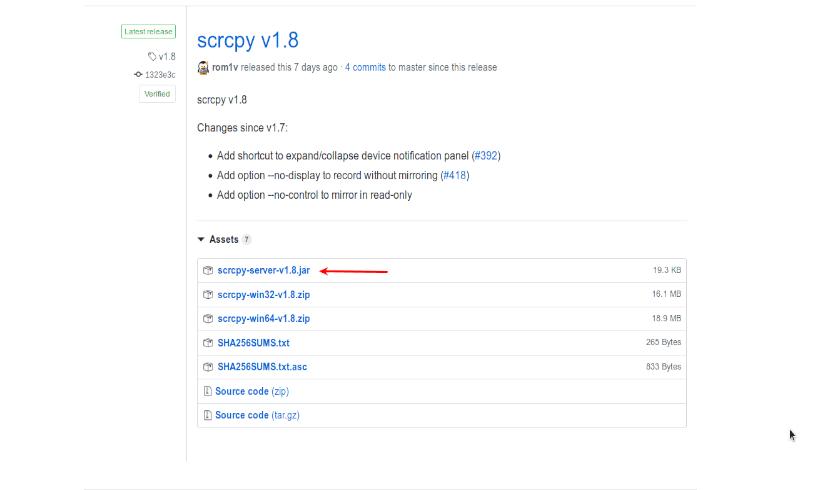 página de descarga del servidor scrcpy .jar