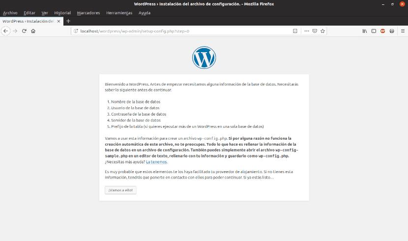 pantalla en la que se va a especificar que se va a instalar con wordpress 5.1