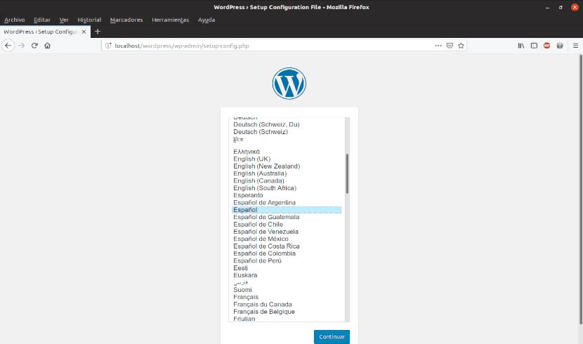 primera pantalla de instalación de Wordpress