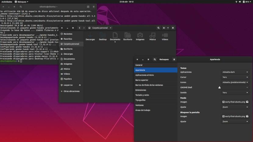 Adwaita oscuro en Ubuntu 19.04