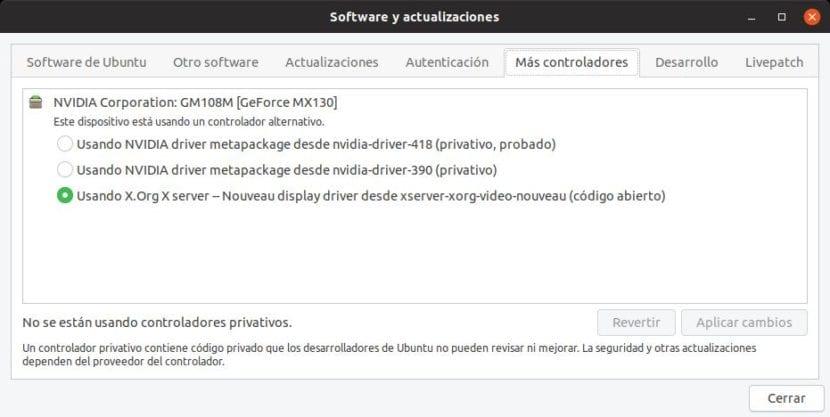 Más controladores en Ubuntu 19.04