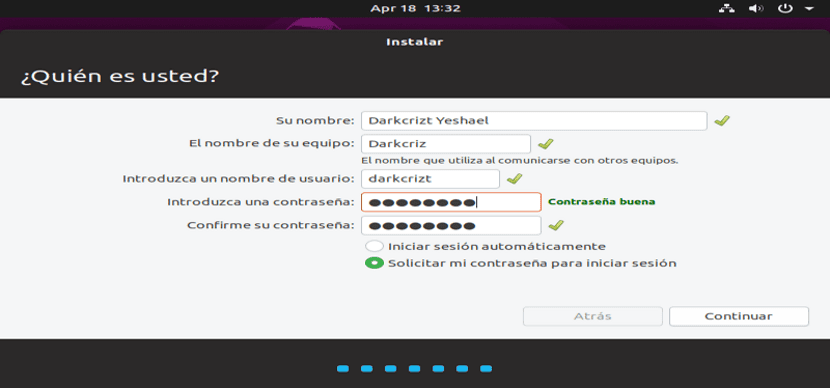 Creación de usuario del sistema