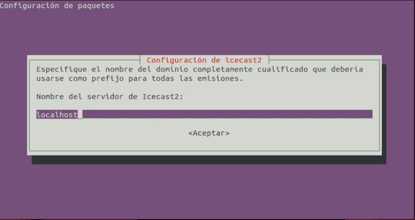 configuración icecast2 localhost